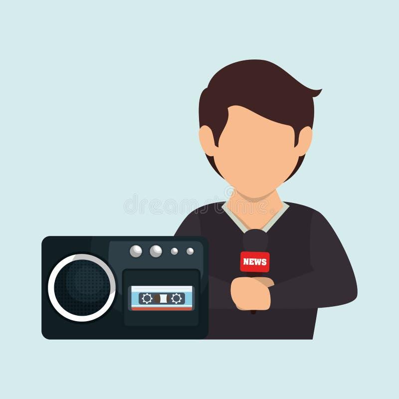 noticias de la grabadora de voz del hombre libre illustration