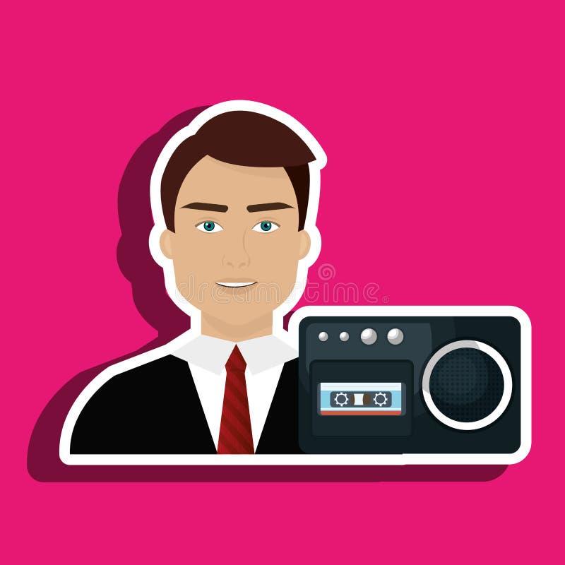 noticias de la grabadora de voz del hombre stock de ilustración