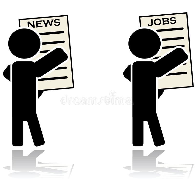 Noticias de la lectura del hombre y trabajo el buscar stock de ilustración