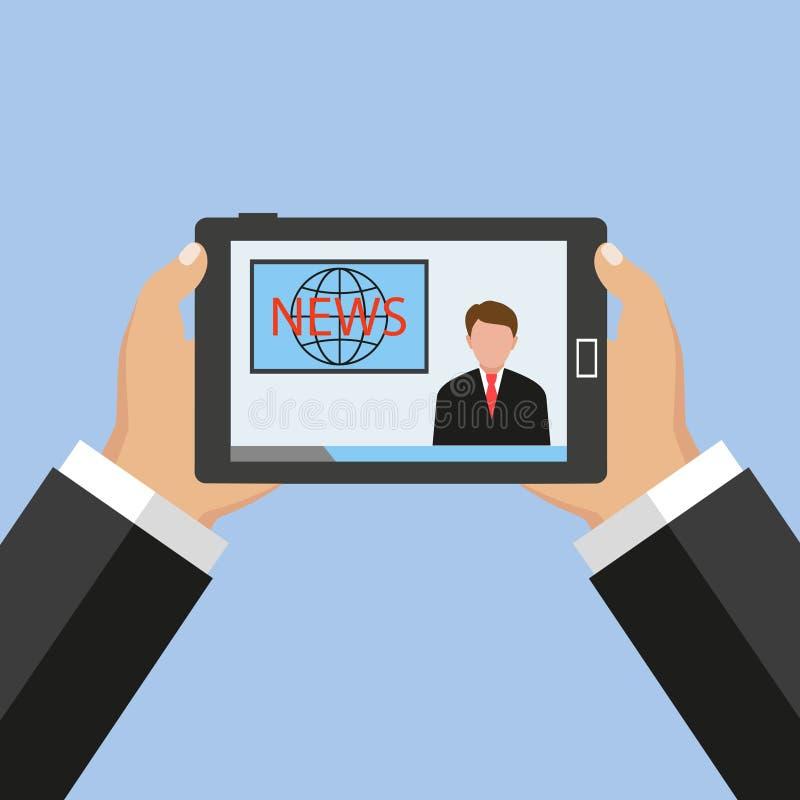 Noticias de la lectura en el teléfono móvil Mano que sostiene el smartphone, sitio web de las noticias stock de ilustración