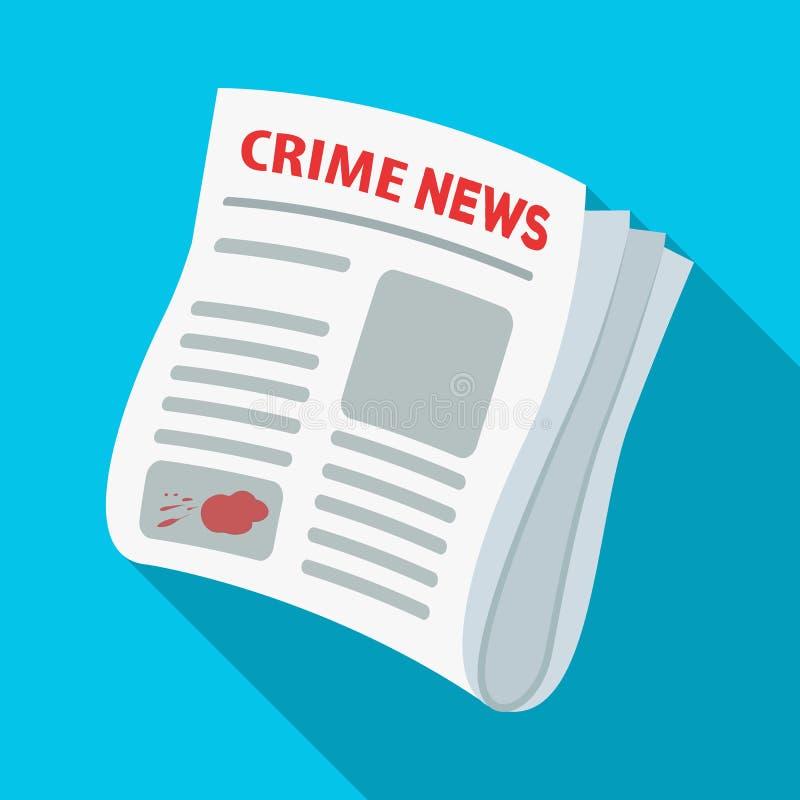 Noticias del crimen del periódico Artículo del crimen en el solo icono de la prensa en web plano del ejemplo de la acción del sím ilustración del vector