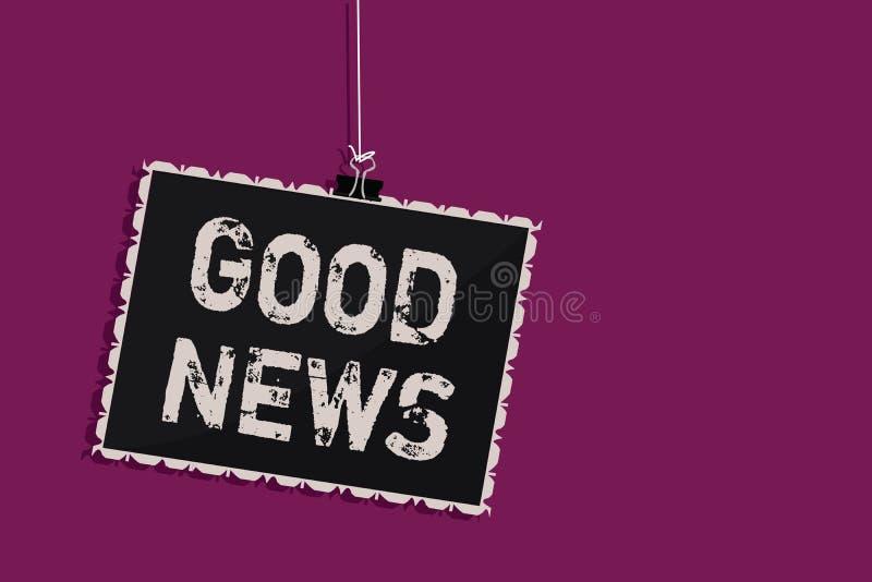 Noticias del texto de la escritura de la palabra buenas Concepto del negocio para alguien o algo positivo, el animar, el elevar,  stock de ilustración