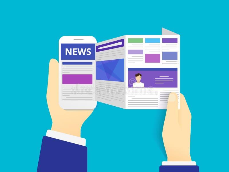 Noticias en línea de la lectura ilustración del vector
