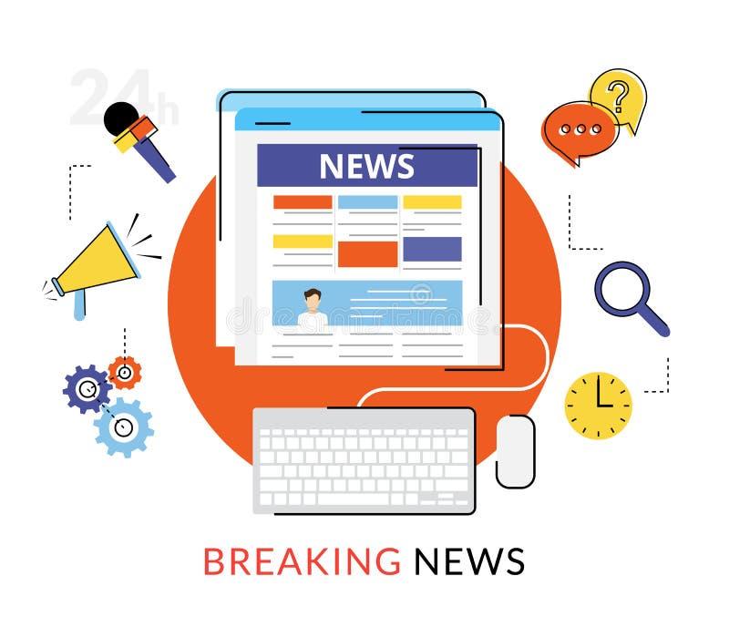 Noticias en línea de la lectura stock de ilustración