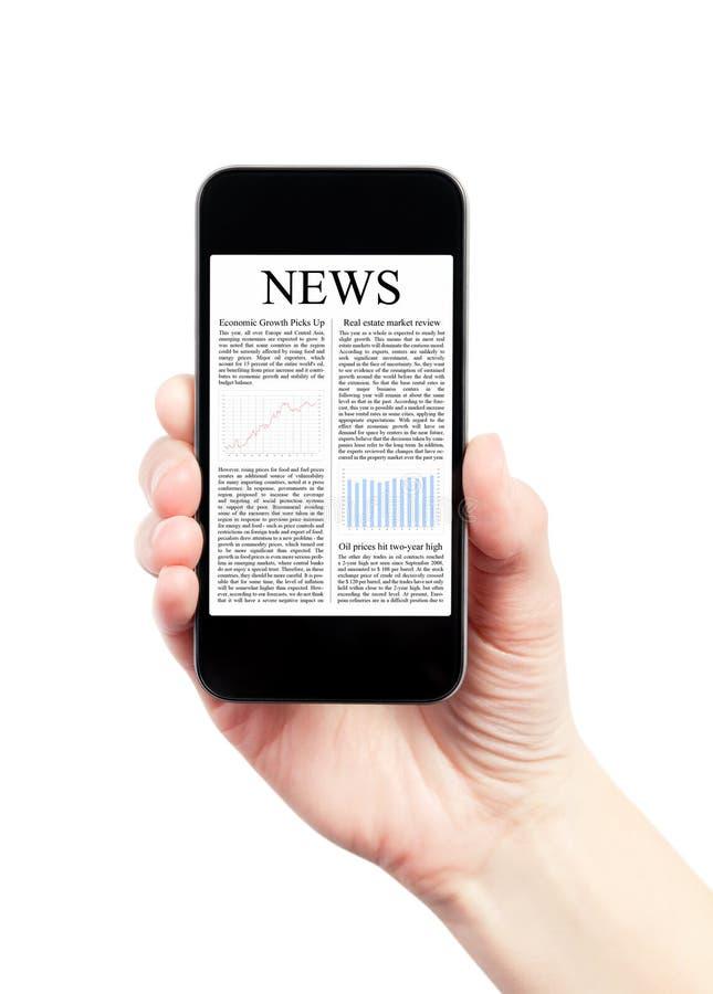 Noticias en Smartphone móvil fotografía de archivo libre de regalías