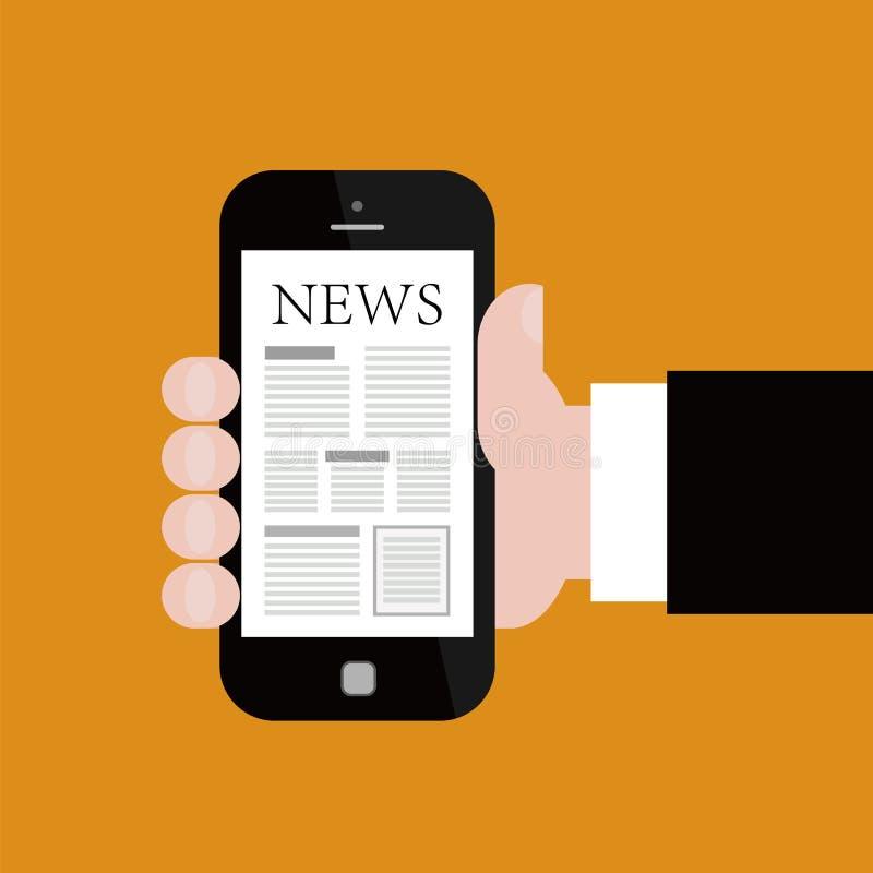 Noticias en Smartphone móvil stock de ilustración