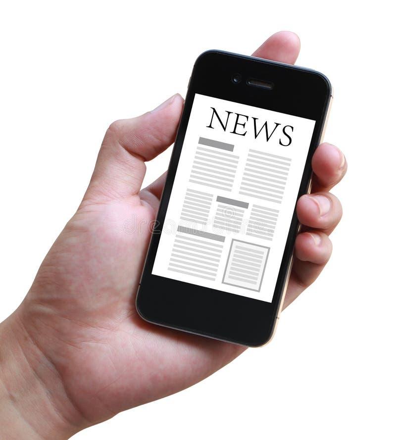 Noticias en Smartphone móvil fotos de archivo