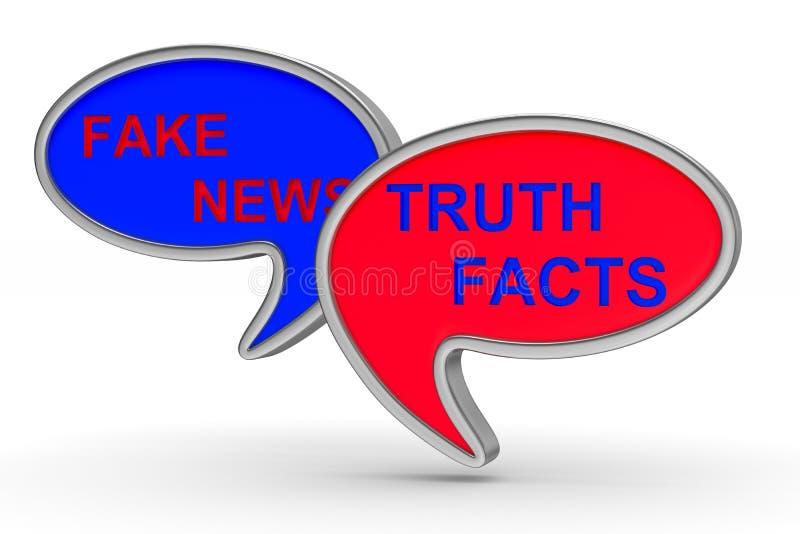 Noticias falsas Globo de la charla en el fondo blanco Illustr aislado 3d ilustración del vector