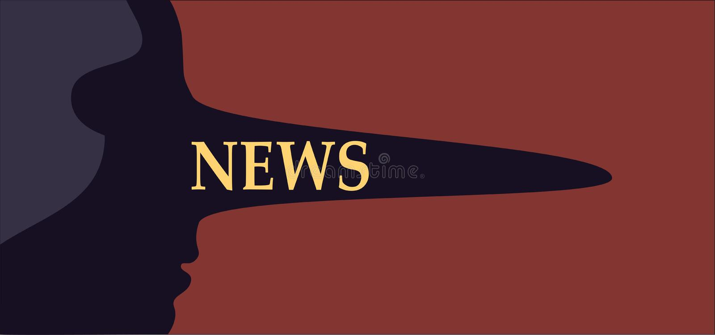 Noticias falsas Persona con una nariz larga del mentiroso que representa la medios información falsa libre illustration