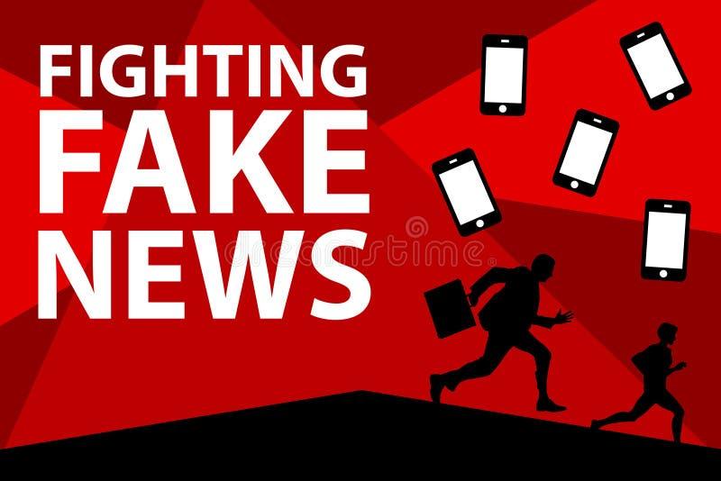 Noticias falsas que luchan ilustración del vector