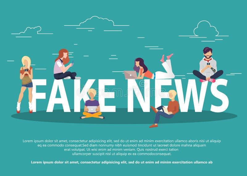 Noticias falsas y y ejemplo plano del vector del concepto de la fabricaci?n de la informaci?n de las noticias falsas de lectura d ilustración del vector