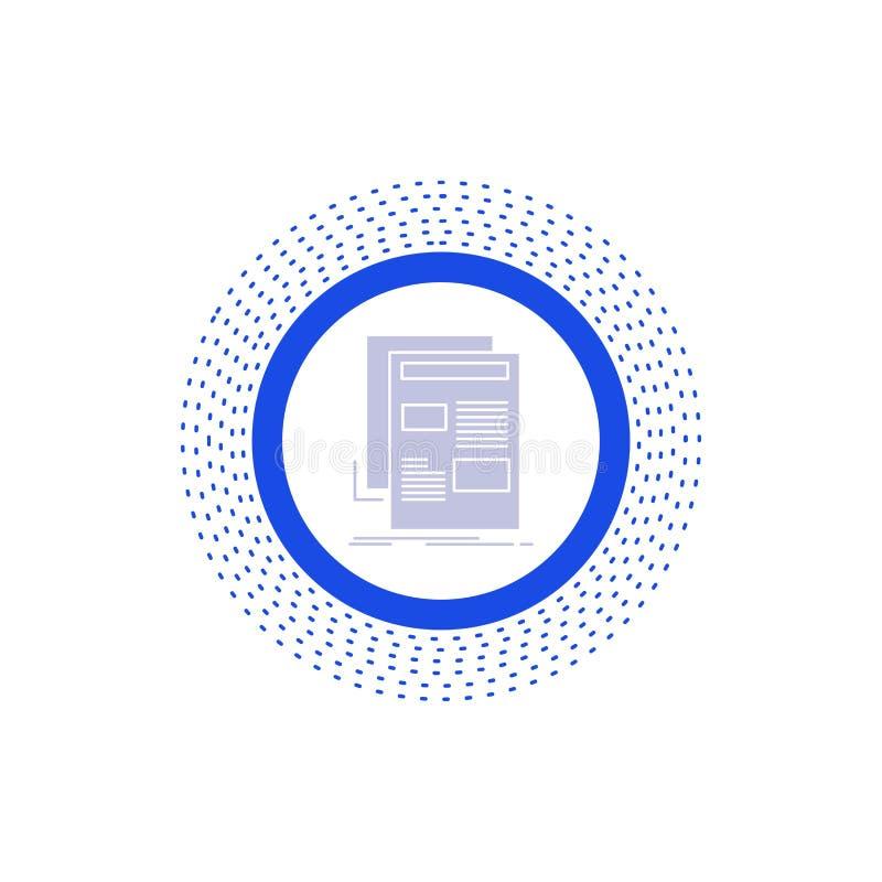 noticias, hoja informativa, periódico, medio, icono del Glyph del papel Ejemplo aislado vector libre illustration