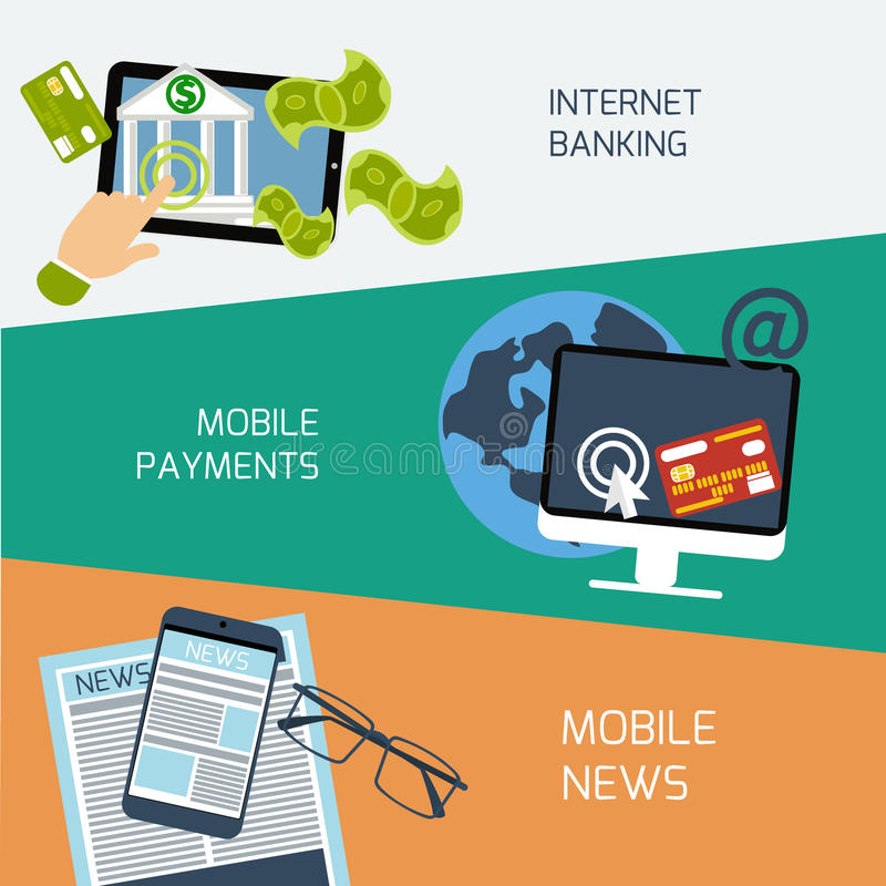 Noticias, pagos y concepto móviles de las actividades bancarias de Internet libre illustration