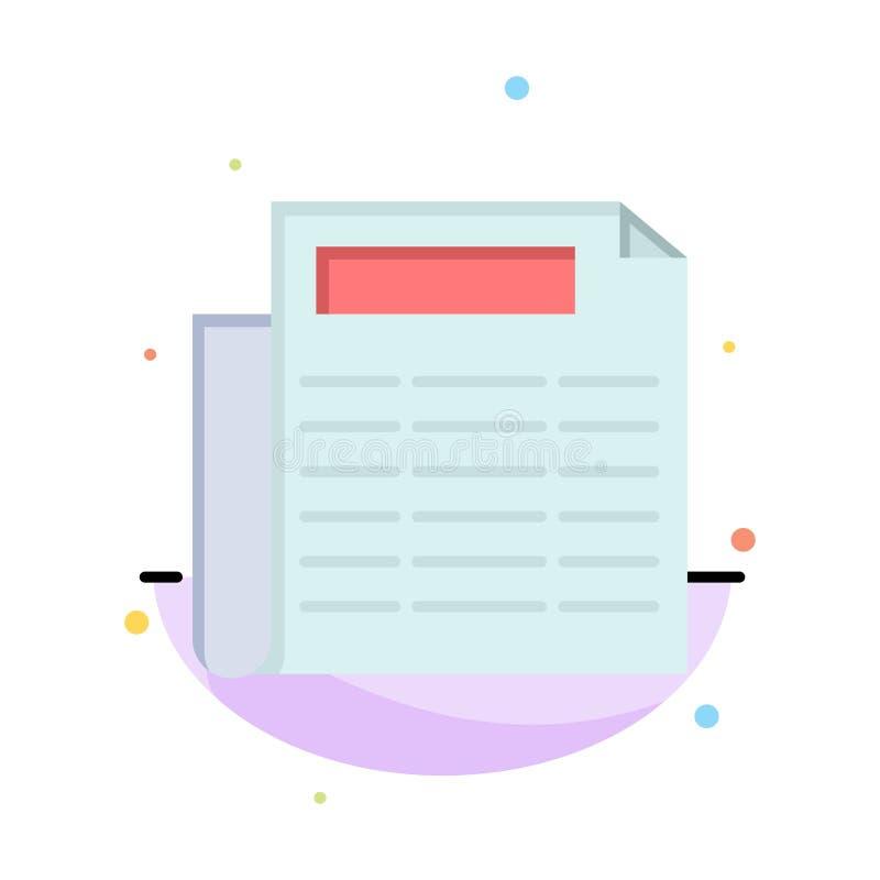 Noticias, papel, negocio Logo Template del documento color plano ilustración del vector