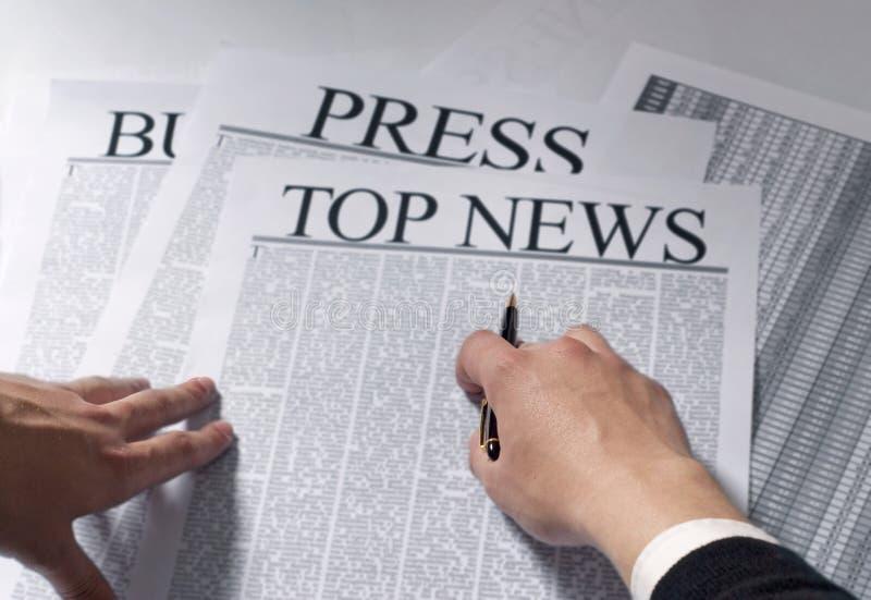 Noticias superiores del periódico imagenes de archivo
