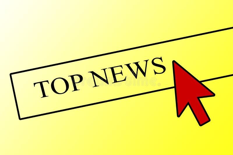 Noticias superiores El concepto de noticias de última hora Cursor del ratón del ordenador en un botón con las noticias de última  fotografía de archivo