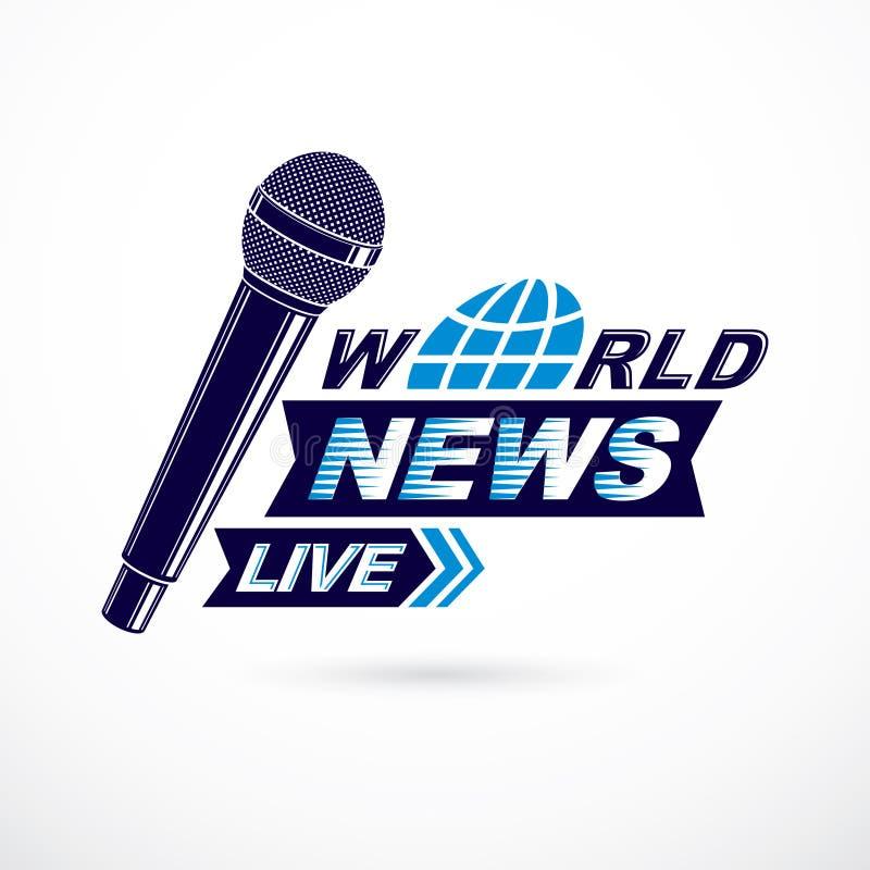 Noticias y hechos que divulgan el logotipo del vector compuesto usando las noticias de mundo i stock de ilustración