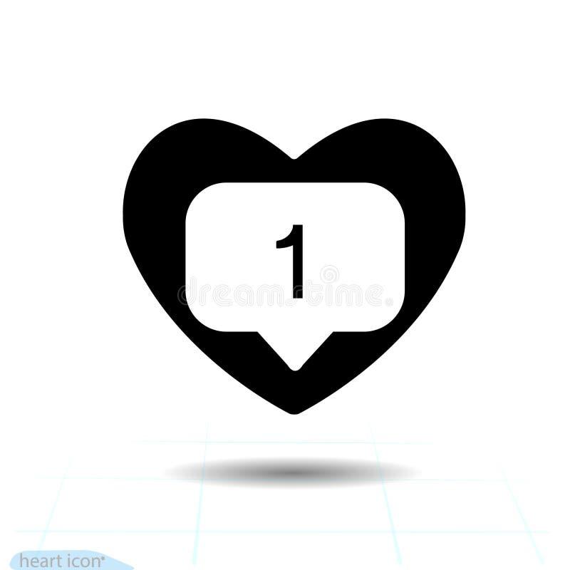 Notificação contrária nova de Instagram do ícone preto O ícone do seguidor do coração gosta de 1 instasymbol, botão Os meios soci ilustração royalty free