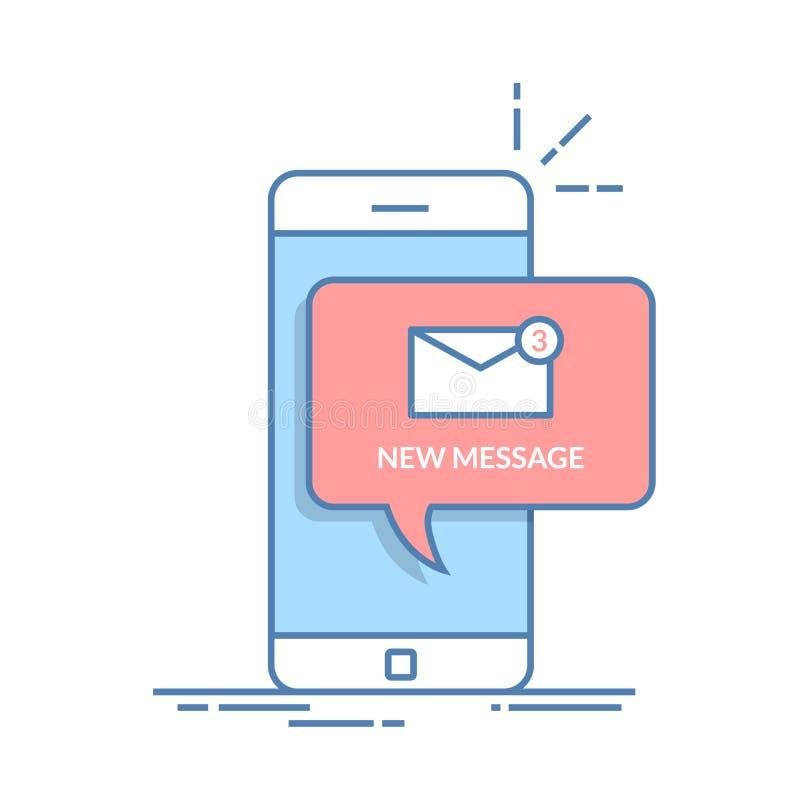 Notificação de um email novo em seu telefone celular ou em smartphone Ícone do correio nas bolhas do discurso Linha fina vetor li ilustração royalty free