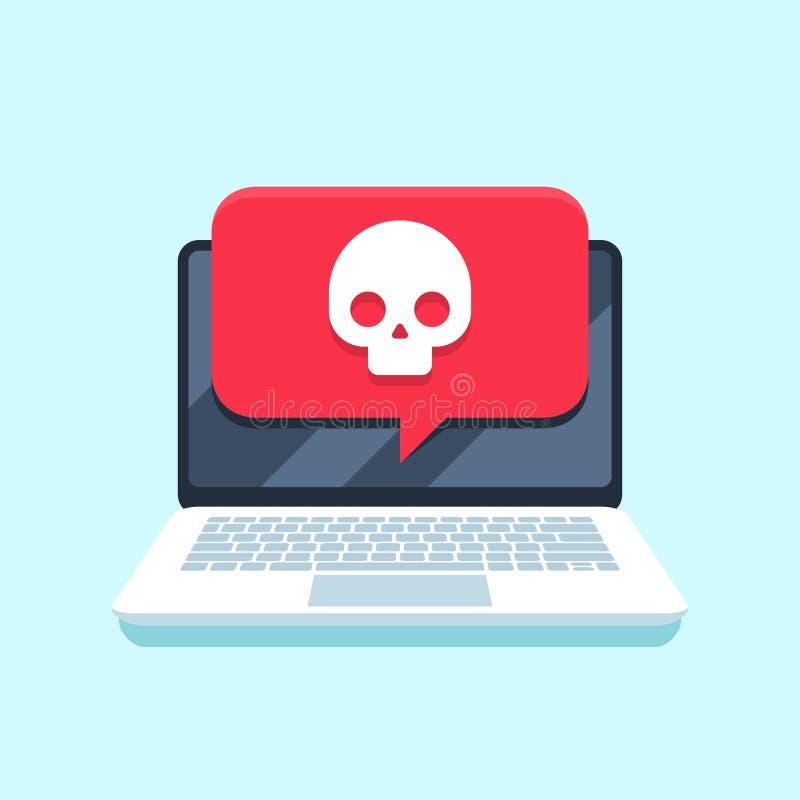 Notificação do vírus na tela do caderno PC do portátil do ataque de Malware, vírus de computador ou corte do conceito seguro do v ilustração royalty free