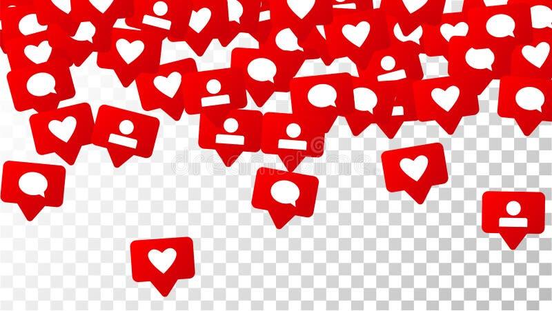 Notificações com gostos, seguidores e comentários Conceito para o projeto social dos meios ilustração do vetor