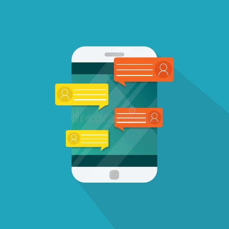 Notificações da mensagem do bate-papo do telefone celular isoladas ilustração do vetor