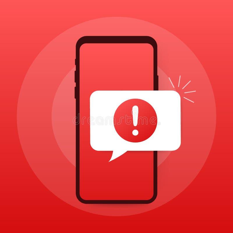 Notifica del cellulare del messaggio di avviso Allarmi di errore del pericolo, problema del virus dello smartphone o notifiche in illustrazione vettoriale