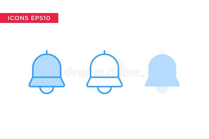Notifica, icona della campana nella linea, profilo, profilo riempito e stile piano di progettazione isolati su fondo bianco Vetto royalty illustrazione gratis