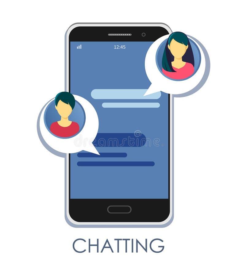 Notifica??o das mensagens em uma ilustra??o do vetor do smartphone, bolhas lisas do bate-papo dos sms com avatars das meninas em  ilustração stock