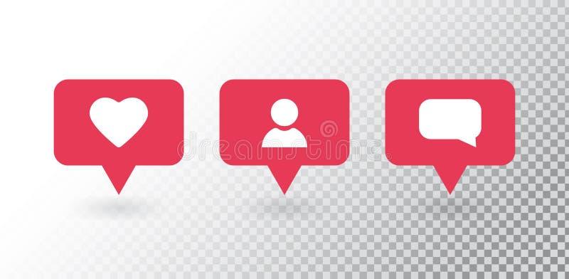 Notifica??o do seguidor Os meios sociais ajustaram ícones das notificações: como, seguidor, comentário Bolha nova vermelha da men ilustração royalty free