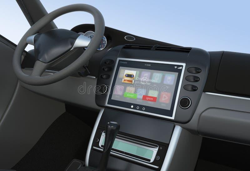 Notificación de la llamada entrante para la consola elegante del coche stock de ilustración