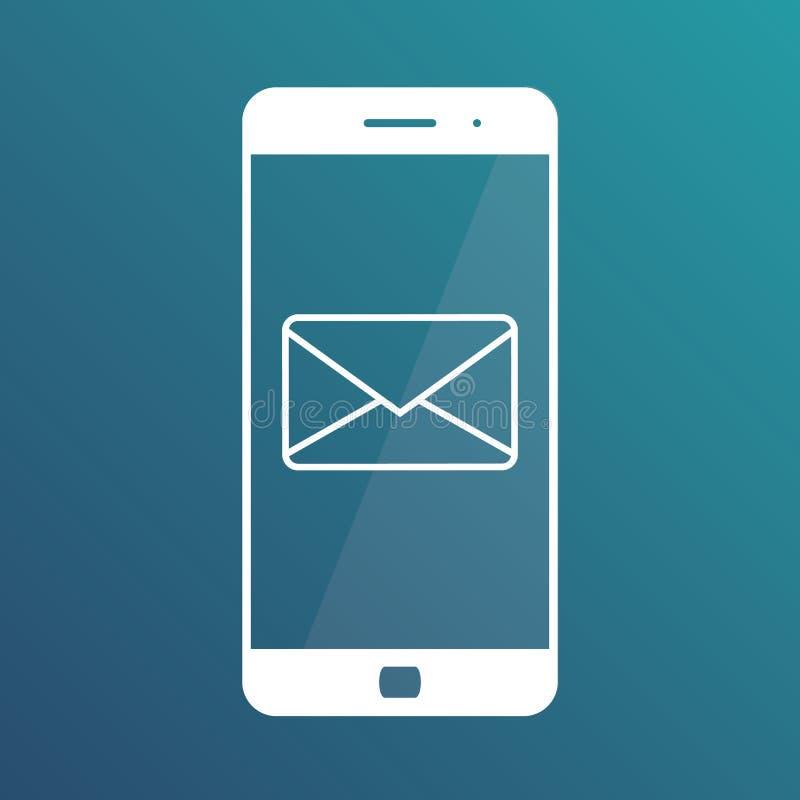 Notificación de un correo electrónico entrante a un smartphone Envío por correo electrónico, Spam, comercio electrónico r ilustración del vector