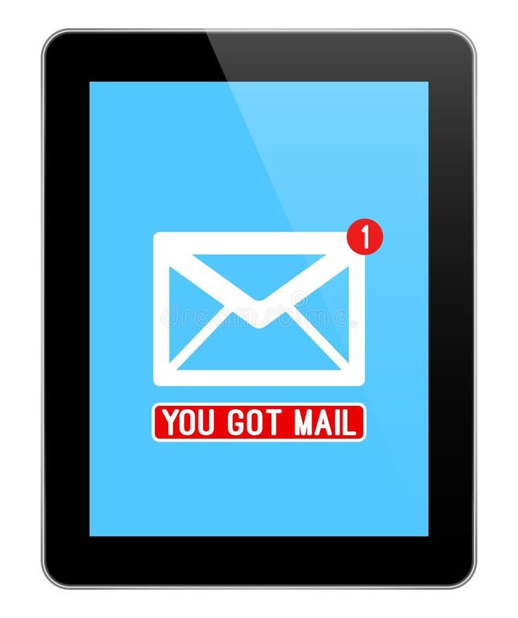 Notificación del correo en la tableta negra moderna ilustración del vector