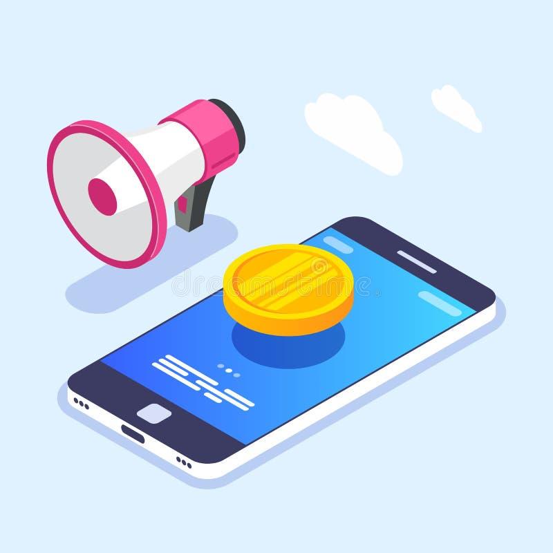 Notificación del dinero en la pantalla del dispositivo móvil Moneda de oro en smartphone Megáfono o altavoz Ejemplo del vector en libre illustration