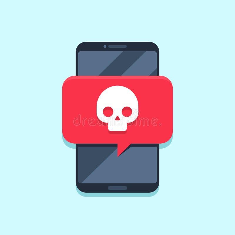 Notificación del virus en la pantalla del smartphone Mensaje alerta, ataque del Spam o notificaciones del malware Vector de los v stock de ilustración