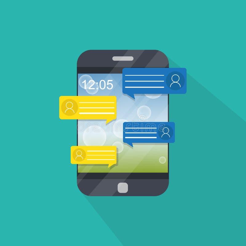 Notificaciones del mensaje de la charla del teléfono móvil aisladas libre illustration