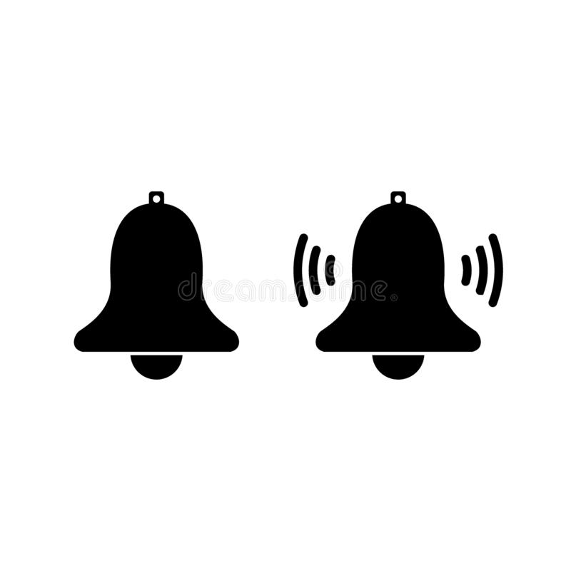 Notification bell icon for incoming inbox message. Vector ringing bell and notification number sign for alarm clock and smartphone stock illustration