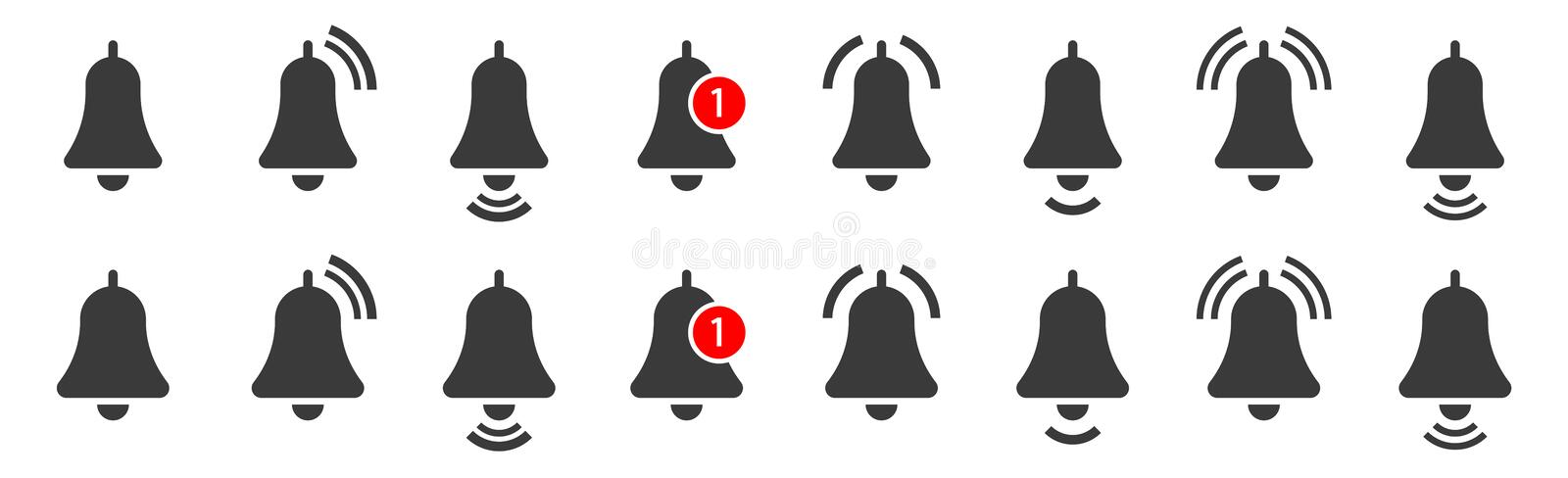 Bell. Notification bell icon for incoming inbox message. Vector ringing bell and notification number sign for alarm clock and smartphone application alert stock illustration