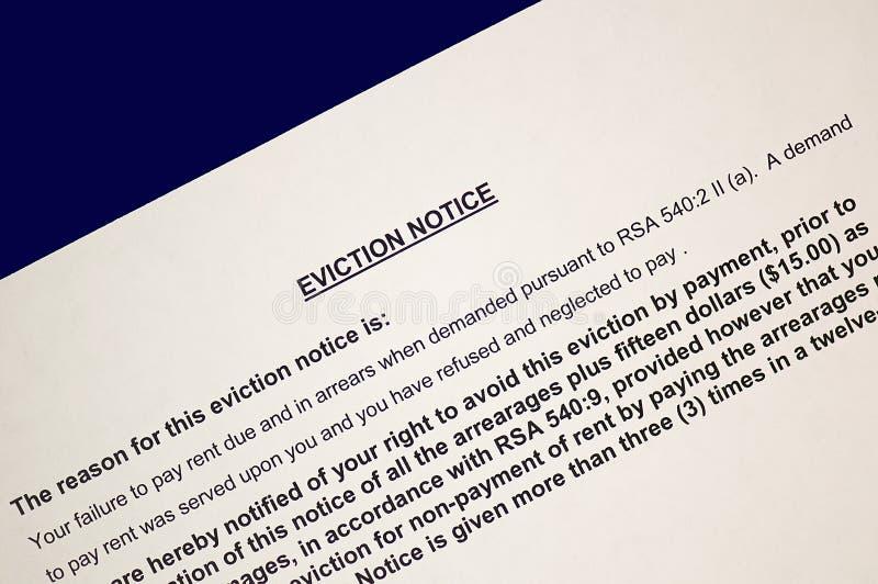 notification permissible d'expulsion photos libres de droits