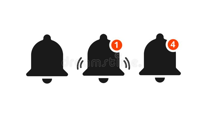 Notification vector icon. Alarm alert message ring icon. Sign for notification. Filled icon of a bell with notification for vector illustration