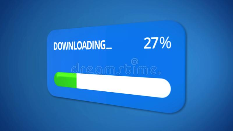 Notification window about data transmission, status bar shows download process stock image