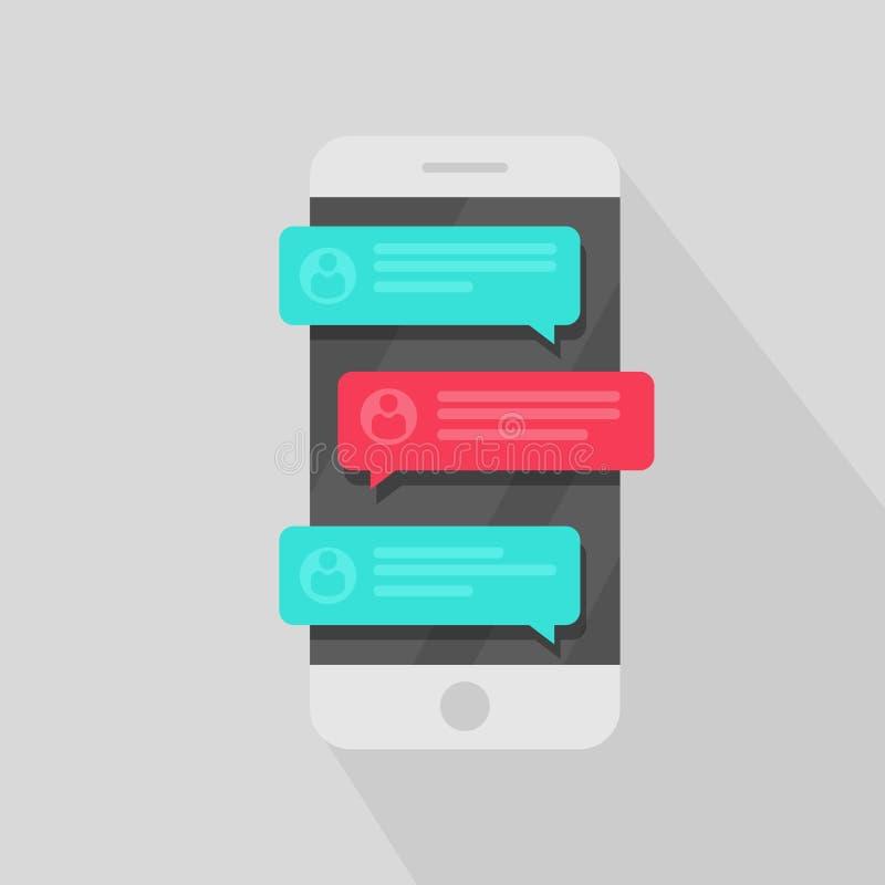 Notifiche del messaggio di chiacchierata del telefono cellulare I discorsi di chiacchierata della bolla, concetto online di conve illustrazione vettoriale