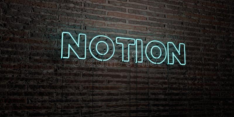 NOTION - enseigne au néon réaliste sur le fond de mur de briques - image courante gratuite de redevance rendue par 3D illustration stock