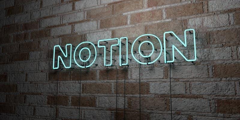 NOTION - Enseigne au néon rougeoyant sur le mur de maçonnerie - 3D a rendu l'illustration courante gratuite de redevance illustration de vecteur