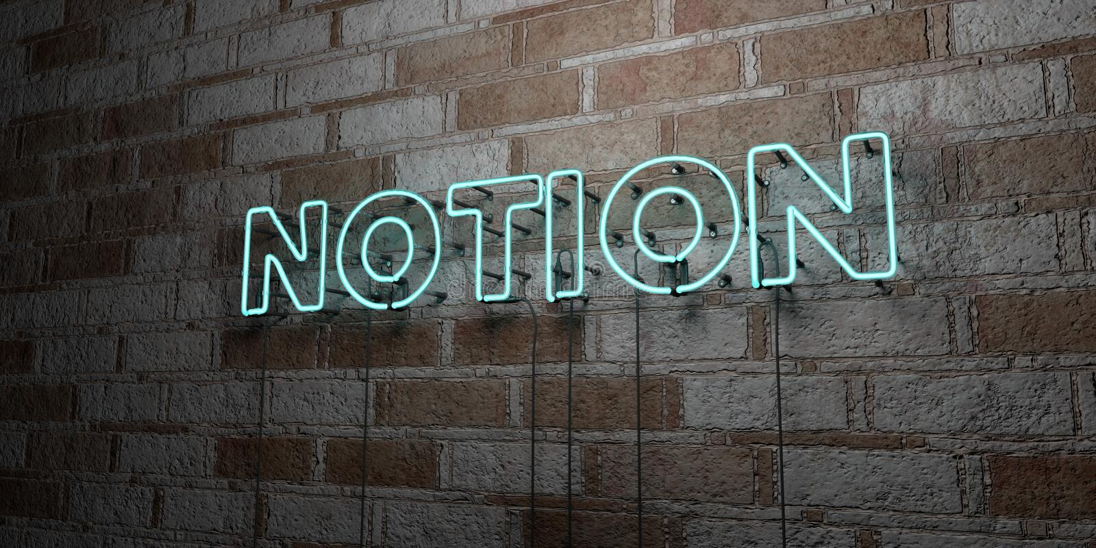 NOTION - Glowing Neon Sign on stonework wall - 3D rendered royalty free stock illustration. Can be used for online banner ads and direct mailers vector illustration