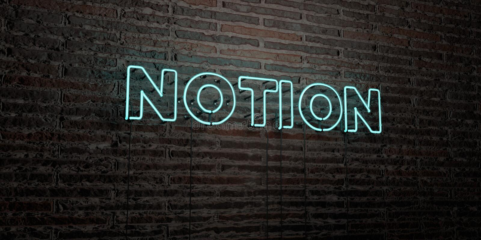NOTION -Realistic Neon Sign on Brick Wall background - 3D rendered royalty free stock image. Can be used for online banner ads and direct mailers stock illustration