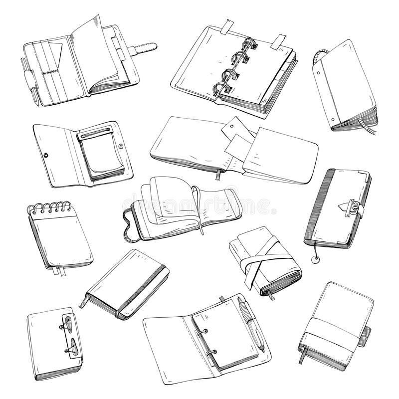Notitieboekje, blocnote, ontwerper, organisator, sketchbook hand getrokken reeks Inzameling van contourillustraties vector illustratie