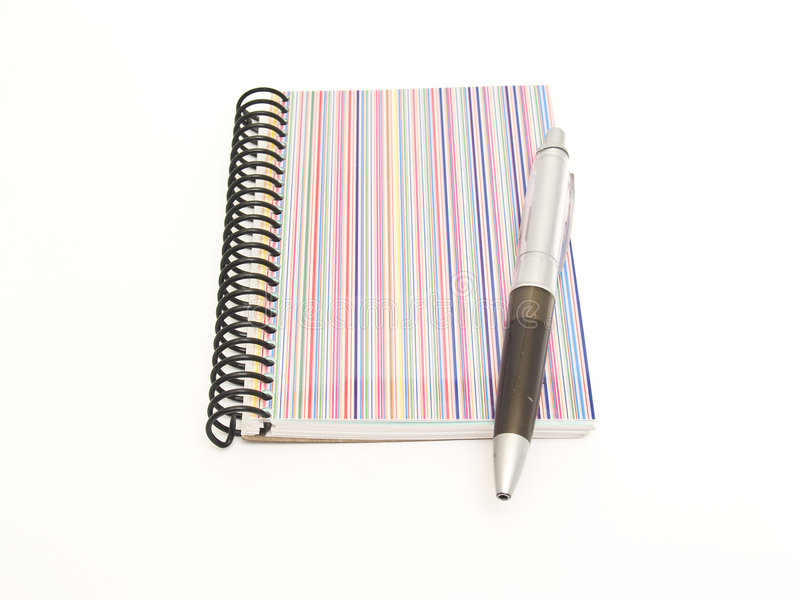 Notitieboekje en pen stock afbeelding