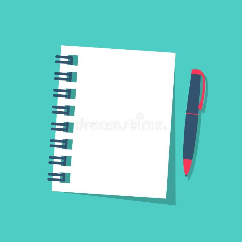 Notitieboekje en pen op achtergrond wordt geïsoleerd die vector illustratie