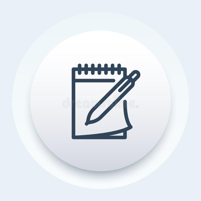 Notitieboekje en pen vectorpictogram in lijnstijl stock illustratie